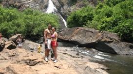 Dom & Kat at Dudhsagar waterfalls 2013
