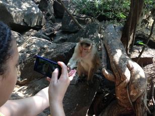 Kat feeding the monkeys at Dudhsagar waterfalls 2013