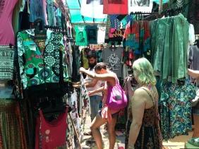 Kat & her mum Anne haggling at Anjuna Market Anjuna in 2013