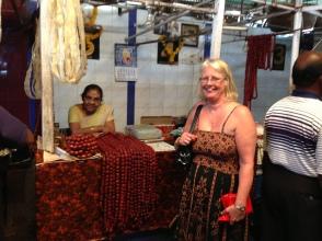Kat's mum Anne watching Goan sausage being made