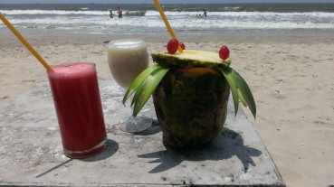 Sipping cocktails at a another beautiful beach in Goa