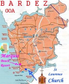 Bardez North Goa Map WITH VENUE flat